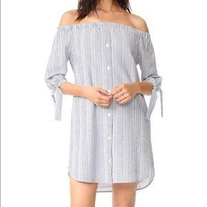 MADEWELL striped off shoulder shirt dress